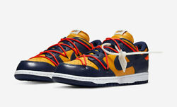 Men 9.0us Centimeter Snkrs Purchase Nike Off White Dunk Low Lthr Ow Navy Yellow