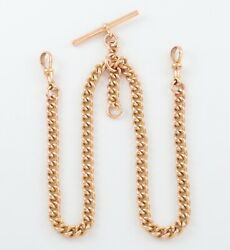 Antique 9ct Gold Curb Link Double Albert Watch Chain 16 1/2and039and039