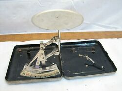Vintage Apothecary Gold Postage Scale Compact Portable Tool Metal Case Box