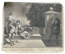 Rare Engraving By Cochin Circa 1729 France After Watteau Belle And'ecoutez