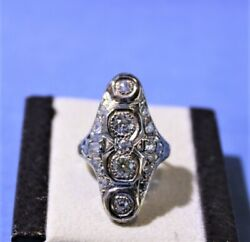 Ladyand039s 14k White Gold Antique Cluster Diamond Ring 1.81 Tcw Size 8