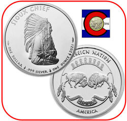 2021 Sioux Indian Chief Portrait Silver 1 Oz 1 Bu Coin - Native American Mint