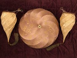 Fortuny Silk Pendant Lamps Hanging Light Shades Italy Nwot Hand Made Vintage Vtg