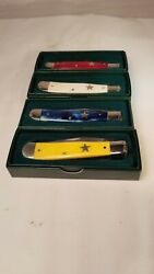 Moore Maker Usa Set Of 4 5202 Utx Trapper Knives Red, White, Blue And Yellow Bone