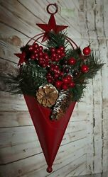 Red Metal Cone Stars Artificial Greenery Red Berries Natural Pinecones 21 X 8