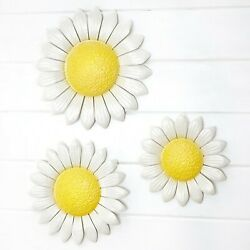 Set of 3 Metal Wall Flowers Art Covered Porch Home Decor Daisies