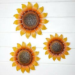 Set of 3 Metal Wall Flowers Art Covered Porch Home Decor Sunflowers