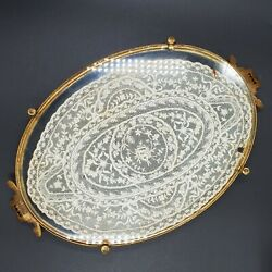 Etchardt Vanity Tray Silver 800 Handles, Lace Glass Brass Copper Antique