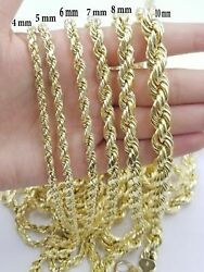 Real 10k Yellow Gold Rope Chain Solid 4mm-8mm Necklace Diamond Cut 22-30 Mens