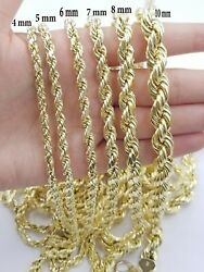 Solid Real 10kt Gold Rope Chain 4mm-8mm 18-30 Necklace Diamond Cut Men Women