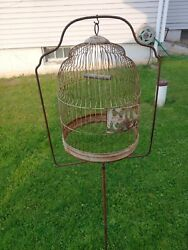 Pair Of Hendryx Vintage Bird Cages With Stand
