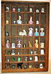 49 Hole Wood Type Box Filled W 60 Years Of Collectible Thimbles Elephants More