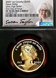 2020 Canada 1oz Silver And Gold High Relief Peace Dollar Ngc Pf-70 Fdoi Taylor