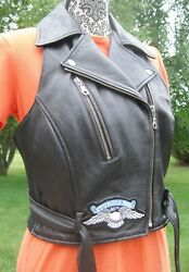Women's First Genuine Leather Motorcycle Vest W/ Harley Davidson Patches - Large