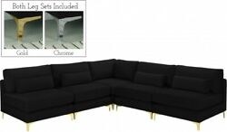 Contemporary Black Velvet Sectional Living Room Furniture Armless And Corner Chair