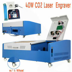 Used Laser Engraving Cutting Machine 40w Usb Co2 12'' X 8'' Movable W/ Wheel