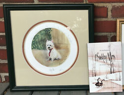 P Buckley Moss Framed Print Numbered Signed Westie Dog And039hug Meand039 W/ Autobiography