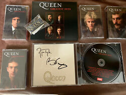 Queen Greatest Hits - Signed Cd And 4 Collectors Cassette And Badge Set Bundle