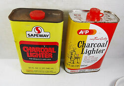 Vintage 1980s A And P Supermarket And Safeway Empty Charcoal Lighter Fluid Cans