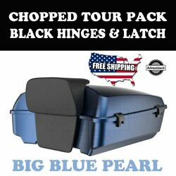 Us Stock Big Blue Pearl Tour Pack Black Hinges Latch Fit 97-20 Harley Touring