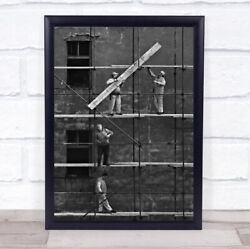 Workers 2 Construction Plank Carry Working Repair People Scaffold Beam Art Print