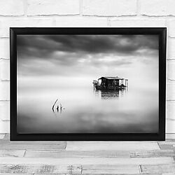 Time Seascape Hut Old Weathered Calm Zen Peaceful Serenity Fishing Art Print