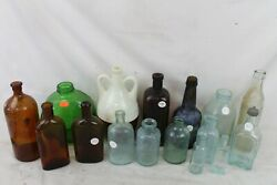 Vintage Antique Bottle Lot Collection Medicine Apothecary Blue Colored Glass Old
