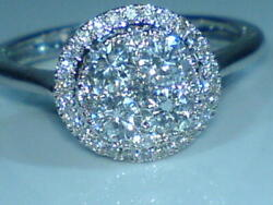 18ct White Gold Hallmarked Real Natural 1.00 Carat Diamond Cluster Ring Size O .