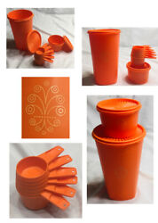 Vintage Tupperware Canisters And Measuring Cups Orange 10-piece Set
