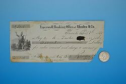Antique 1855 Rhodes And Co. Express And Banking Check Shasta California - Gold Rush
