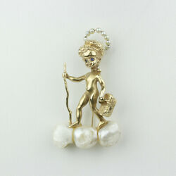 M.hime 14k Gold And Pearl Ruser Style Angel Brooch Holding Paris Picnic Basket