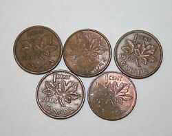 Lot Of 5 Canada 1 Cent Coin 19601962196419651977 Copper Pennies