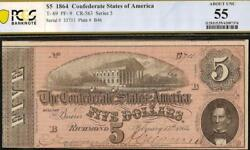 1864 5 Dollar Confederate States Currency Civil War Note Money T-69 Pcgs 55