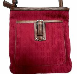 Fossil Handbag Crossbody Small Red Signature Bag with Brown Strap