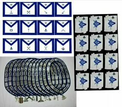 Blue Lodge Masonic Officer Aprons +chain Collar + Jewels + Gloves Lot Of 12x4