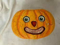 Dept 56 Lidded Pumpkin Face Treat Box Halloween Vintage Look Candy Container