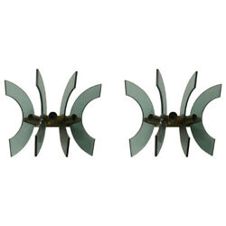 1950s Pair Of Mid-century Modern Cristal Art Green Glass And Brass Wall Sconces