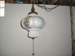 Vintage Super Rare Mid-century Swag Queen Crown Glazed Hanging Lamp 17x12