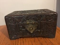 Antique Wooden Hand Carved Yu Ting Good Luck Sailing Chest Box Hong Kong