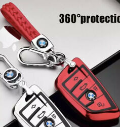 Bmw Key Fob Cover Case Blade Shape Red Only And Red Braided Keychain