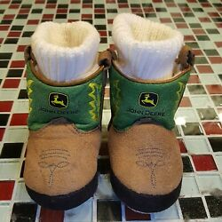 John Deere Faux Suede Leather Infant Baby Boots Booties Slippers Sz 3 - 6 Months