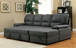 Graphite Faux Nubuck Fabric Sectional Sofa Storage Chaise 2-pc Set Living Room