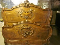 Gorgeous Rare Ornate Antique French Bed Headboard And Footboard On Sale