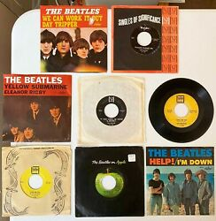 7 Beatles 45s – 3 With Picture Sleeves, Vj Records, Tollie, Apple Records