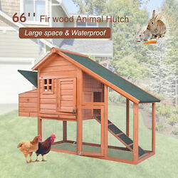 Wooden Large Chicken Coop Hen Hutch Small Animal House Cage w Run amp; Nesting Box