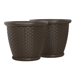 Planter Large Plant Garden Flower Pot Round Molded Resin Brown 22 Inch 2 Pack