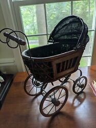 Antique Victorian Baby Doll Stroller Vintage Wicker Carriage Small Doll Buggy