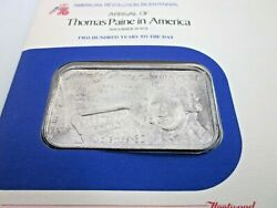 American Revolution Bicentennial Arrival Of Thomas Paine In America--sealed Ch