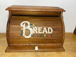 Roll Top Vintage Wooden Breadbox 18andrdquo X 11andrdquo X 11 1/2andrdquo High Floral Flowers