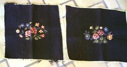 Vintage Pair Completed Needlepoint Wool Seat Pillow Face Covers Brown Floral
